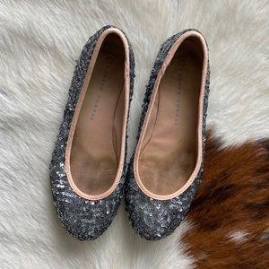 Lauren Conrad Gunmetal Sequin Ballerina Flats